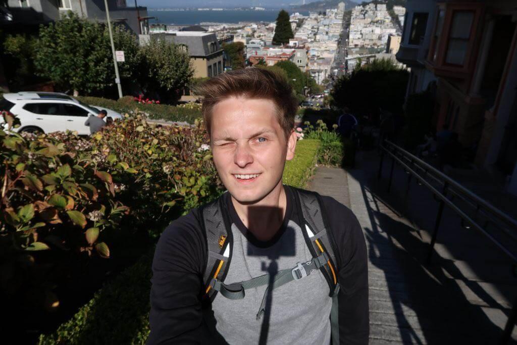 Selfie auf Lombard Street