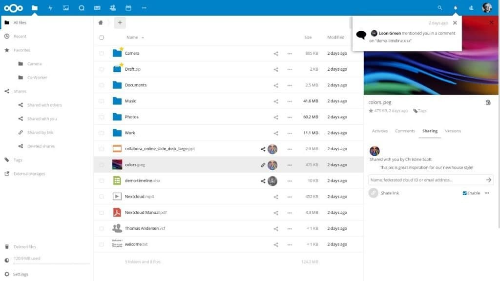 Nextcloud Files Screenshot
